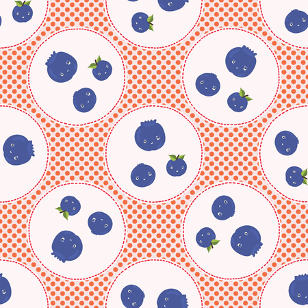 Cute blueberries polka dot vector illustration. Seamless repeating pattern. Hand drawn kawaii dotty blue berry background. 1950s style retro kitchen decor, kids textiles, 5aday fruit all over print.