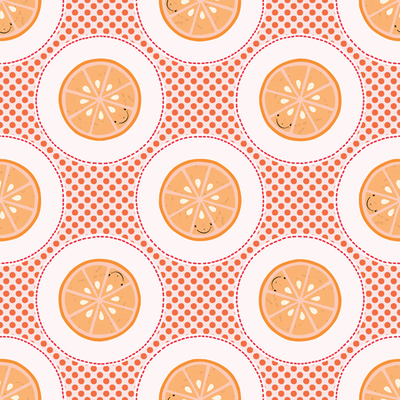 Cute oranges polka dot vector illustration. Seamless repeating pattern. Hand drawn kawaii dotty citrus slice background. 1950s style retro kitchen decor, kids textiles, 5aday fruit all over print.