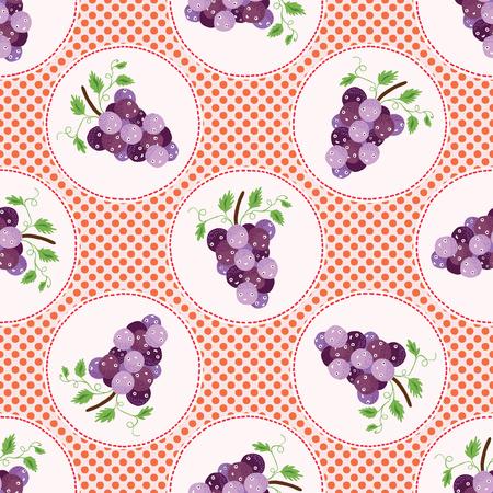 Cute grapes polka dot vector illustration. Seamless repeating pattern.