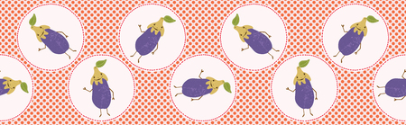 Cute aubergine polka dot vector illustration. Seamless repeating border pattern. Stock Illustratie