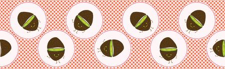 Cute kiwi polka dot vector illustration. Seamless repeating pattern border. Hand drawn kawaii dotty red kiwifruit background. 1950s style retro kitchen decor, kids textiles, 5aday fruit banner trim.