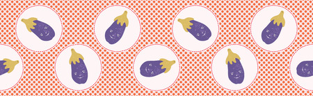 Cute aubergine polka dot vector illustration. Seamless repeating border pattern. Hand drawn kawaii eggplant banner trim background. 1950s style retro kitchen decor, kids textiles, cookery ingredient.  イラスト・ベクター素材
