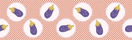 Cute aubergine polka dot vector illustration. Seamless repeating border pattern. Hand drawn kawaii eggplant banner trim background. 1950s style retro kitchen decor, kids textiles, cookery ingredient. Illustration