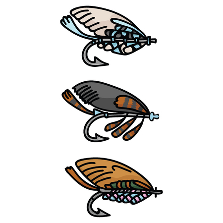 Cute fishing lure and tackle cartoon vector illustration motif set. Hand drawn fish gear elements clipart for hobby angling blog, fishhook graphic, aquatic sport web buttons.
