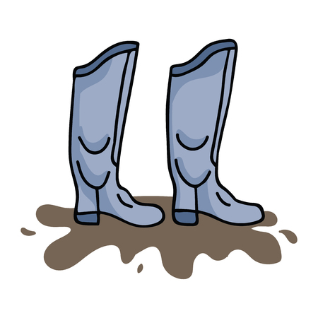 Cute wellington cartoon vector illustration motif set. Hand drawn rainy day galoshes elements clipart for muddy weather, puddle graphic, gardening web buttons.