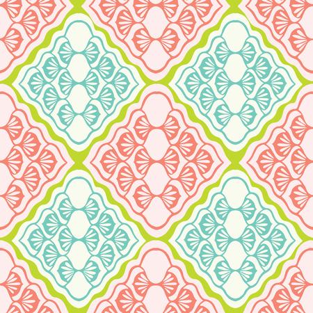 Pretty geometric diamond damask pattern. Seamless repeating. Hand drawn mosaic vector illustration. Ornate ornamental in decorative coral peach, teal background. Summer fashion, retro home decor.