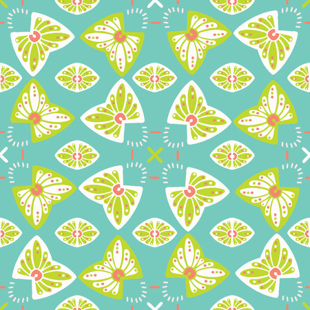 Pretty stylized floral pattern. Seamless repeating. Hand drawn butterfly vector illustration. Ornamental indian damask flourish on trendy decorative green background. Spring fashion, retro home decor.
