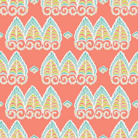 Pretty lacy paisley style pattern. Seamless repeating. Hand drawn ornate vector illustration. Ornamental indian damask flourish on trendy decorative coral background. Spring fashion, retro home decor.