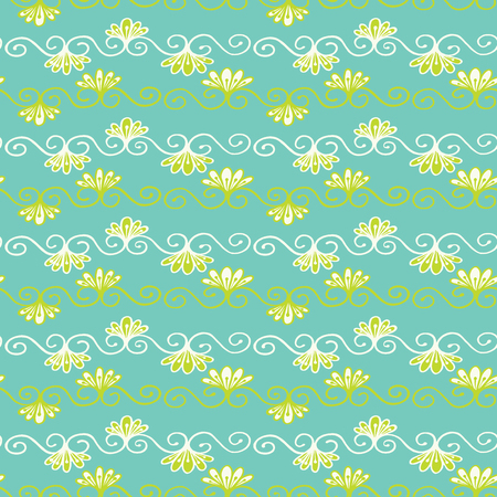 Pretty flower damask pattern. Seamless repeating flourish scroll. Hand drawn trendy floral vector illustration. Bright ornamental in decorative teal green background. Spring fashion, retro home decor.