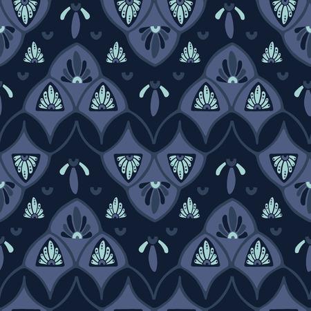 Indigo blue dye stylized floral pattern. Seamless repeating. Hand drawn ornate vector illustration. Ornamental japanese style damask flourish. Trendy decorative background fashion, asian home decor.