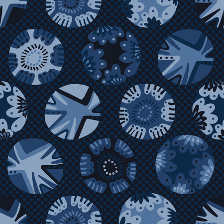 Indigo blue dye flower polka dot pattern. Seamless repeating. Hand drawn vector illustration. Abstract circles motif. Japanese style kimono textile backdrop. Trendy denim fashion, asian home decor.
