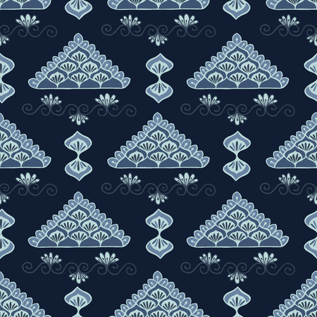 Indigo blue geometric lacy triangle pattern seamless repeating 矢量图像