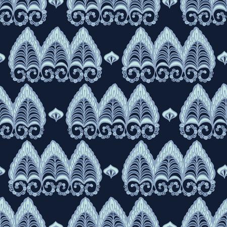 Indigo blye dye lacy paisley style pattern. Seamless repeating. Hand drawn ornate vector illustration. Ornamental japanese style damask flourish background. Trendy ethnic fashion, asian home decor. Illustration