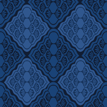 Indigo blue geometric diamond damask pattern. Seamless repeating. 矢量图像