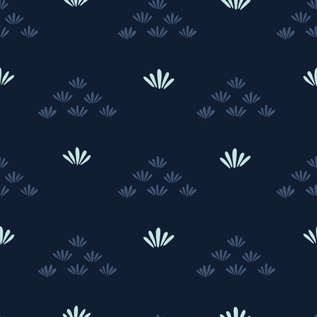 Indigo blue stylized flower grass pattern. Seamless repeating. Hand drawn trendy floral vector illustration. Geometric petal in japanese style background. Asian kimono fashion, simple home decor.