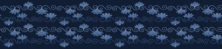Indigo blue dye flower damask border pattern. Seamless repeating flourish scroll. Hand drawn floral vector illustration. Bright ornamental japanese style . Trendy fashion, asian fusion ribbon trim. Reklamní fotografie - 124652053