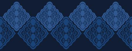 Indigo blue dye stylized floral border pattern. Seamless repeating. Hand drawn ornate vector illustration. Ornamental japanese style damask flourish. Trendy decorative fashion asion fusion ribbon trim Illustration