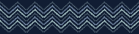 Indigo blue geometric chevron border pattern. Seamless repeating. Hand drawn vector illustration. Ornamental arrow motif. Japanese kimono style textile. Trendy fashion asian fusion ribbon trim.