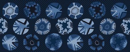 Indigo blue dye flower polka dot circle border pattern. Seamless repeating ribbon trim. Hand drawn vector illustration. Japanese style kimono edging ribbon trim. Trendy fashion asian fusion home decor Reklamní fotografie - 124652061