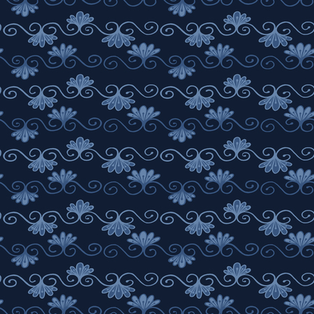 Indigo blue dye flower damask pattern. Seamless repeating flourish scroll. Hand drawn trendy floral vector illustration. Bright ornamental japanese style background. Trendy fashion, asian home decor.