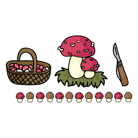 Cute mushroom foraging with basket cartoon vector illustration motif set. Hand drawn edible fungi hunting elements clipart for wild food blog, toadstool graphic, woodland web buttons. Stock Vector - 124514222