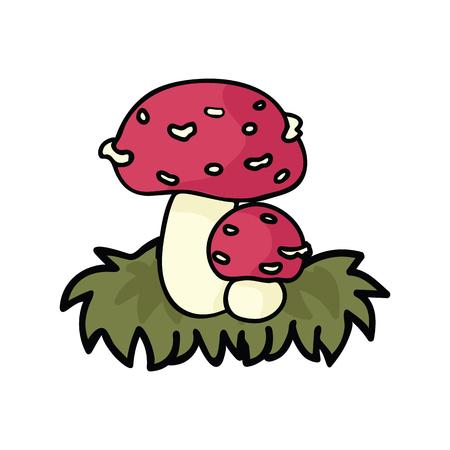 Cute fly agaric mushroom cartoon vector illustration motif set. Hand drawn edible fungi