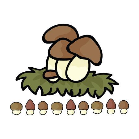 Cute ceps mushroom cartoon vector illustration motif set. Hand drawn edible porcini fungi