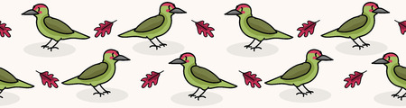 Cute woodpecker cartoon seamless vector border background. Hand drawn wildlife bird illustration, forest animal for woodland Fashion Prints. Stock Illustratie