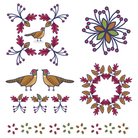 Cute pheasant cartoon vector illustration motif set. Hand drawn isolated forest plant elements clipart for nature blog, oak leaf and berry graphic,woodland web buttons.
