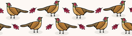 Cute pheasant cartoon seamless vector border background. Hand drawn wildlife bird illustration, forest animal for woodland Fashion Prints. Stock Illustratie