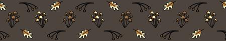 Cute mushroom and oak leaf cartoon seamless vector border background.