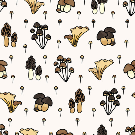 Cute mushrooms cartoon seamless vector pattern background Illustration