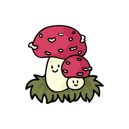 Kawaii fly agaric mushroom cartoon vector illustration motif set. Hand drawn fungi elements clipart for foraging blog, toadstool graphic, woodland web buttons.