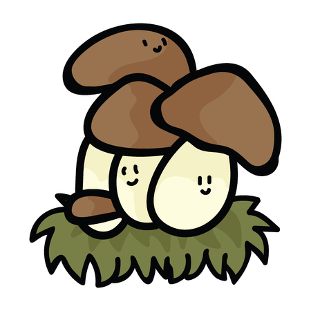 Kawaii ceps mushroom cartoon character vector illustration motif set. Hand drawn edible porcini fungi elements clipart for wild food foraging blog, toadstool graphic, woodland web buttons with border.