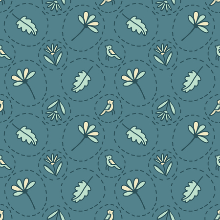 Tiny Floral Birds Dotty Seamless Vector Pattern. Boho Spring Green Flower Circles. Hand Drawn Summer llustration for Pretty Fashion Prints, Garden Packaging, Cute Paper Goods, Stylish Wallpaper Design