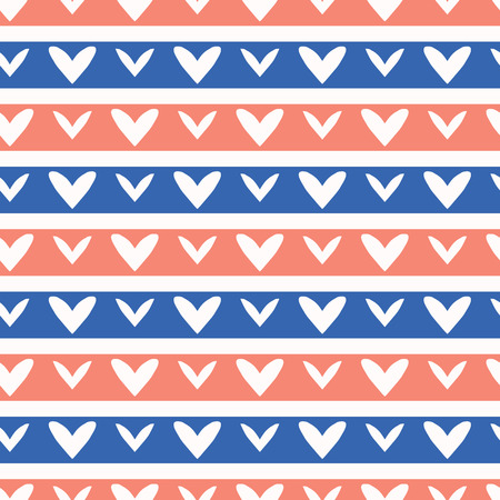 1950s Style Retro Love Heart Stripes Seamless Vector Pattern. Hand Drawn Texture for Trendy Summer Textile Prints, Wedding Decor, Patriotic Fashion Prints, Valentines Day Cards. Vintage Blue Red Pink