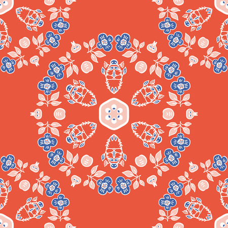 1950s Style Retro Daisy Flower Circle Seamless Vector Pattern. Folk Floral Hand Drawn Summer Textile Prints for Trendy Bohemian Fashion, Pretty Packaging, Girl Clothing, Stationery. Vintage Blue Red