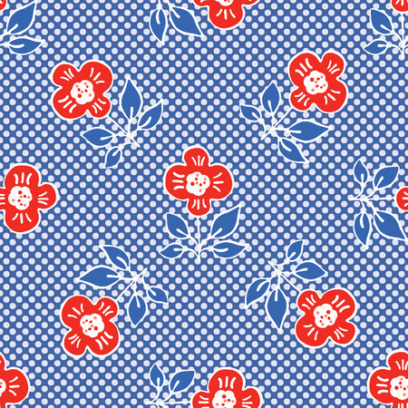1950s Style Retro Daisy Polka Dot Seamless Vector Pattern. Folk Flower Hand Drawn Summer Textile Prints for Trendy Bohemian Art Fashion, Pretty Packaging, Girl Clothing, Stationery. Vintage Blue Red Çizim