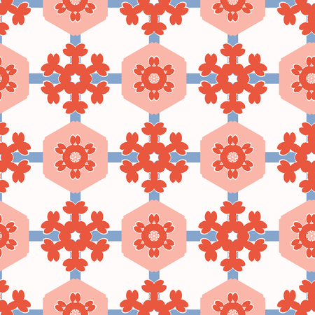 1950s Style Hexagon Patchwork Dot Seamless Vector Pattern. Folk Art Quilt. Hand Drawn Summer Textile Prints for Trendy Bohemian Fashion, Pretty Packaging, Girl Clothing, Stationery. Vintage Blue Red