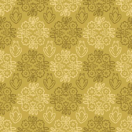 1950 styl retro stokrotka kwiat bezszwowe wektor wzór. Ludowy kwiatowy adamaszek. Ręcznie rysowane letnie nadruki tekstylne dla modnej mody ludowej Boho, opakowań, artykułów papierniczych. Vintage Ecru Musztardowy Żółty Zielony