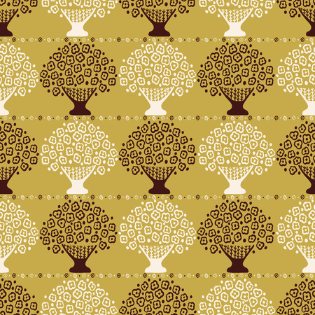 Stylized Flower Basket Seamless Vector Pattern. Scandi Folk Daisies Flowering Tree. Hand Drawn Boho Style Illustration for Trendy Textiles Prints, Decor, Garden Packaging. All Over Ecru Mustard Yellow