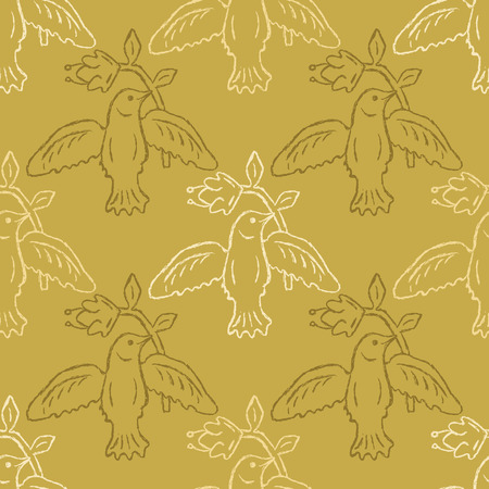 Floral Bird Seamless Vector Pattern. Boho Folk Flower, Peace Dove Flying Birdies