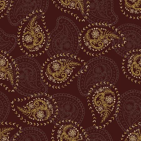 Estilo de los años 50 Retro Daisy Paisley Seamless Vector Pattern. Motivo de bordado de flores étnicas populares. Estampados textiles dibujados a mano para moda de moda, embalaje, ropa Scandi, papelería. Oro Marrón Vintage Ilustración de vector