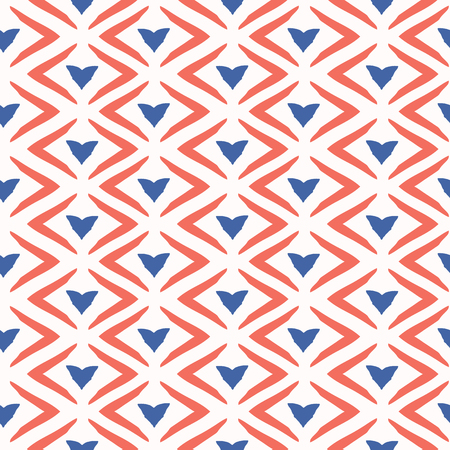 1950s Style Retro Chevron Love Heart Seamless Vector Pattern. Hand Drawn Texture for Summer Textile Prints, Wedding Invitations Decor, Trendy Folk Fashion Prints, Valentines Day Card. Vintage Blue Red
