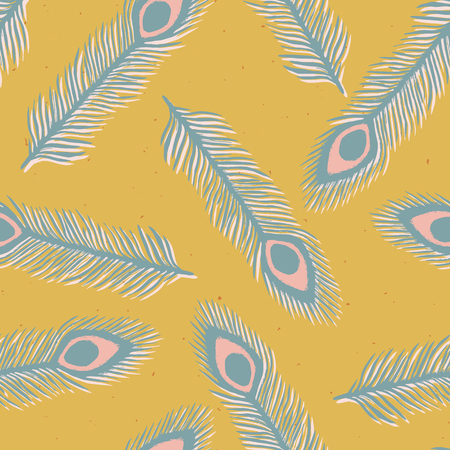 Rustic Peacock Feather Seamless Vector Pattern. Lino Cut Texture. Sketchy Plumage Block Print Style for Home Decor, Trendy Wallpaper, Exotic Textiles, Animal Cards. Teal Blue Mustard Yellow Backdrop
