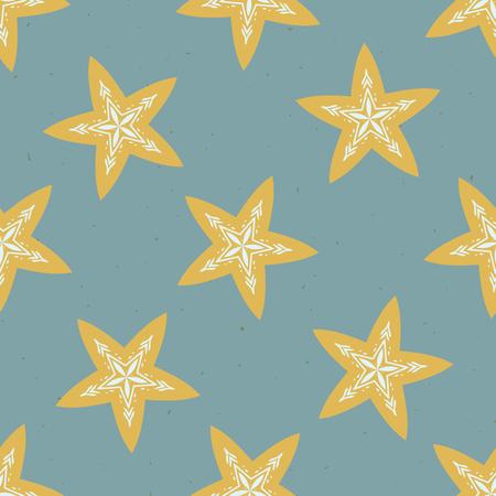 Winter Rustic Stars Lino Cut Texture Seamless Vector Pattern, Sketchy Folk Snowflake Blockprint