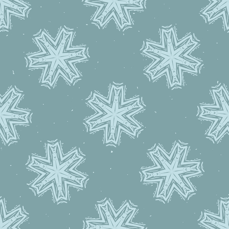 Winter Rustic Snowflake Lino Cut Texture Seamless Vector Pattern