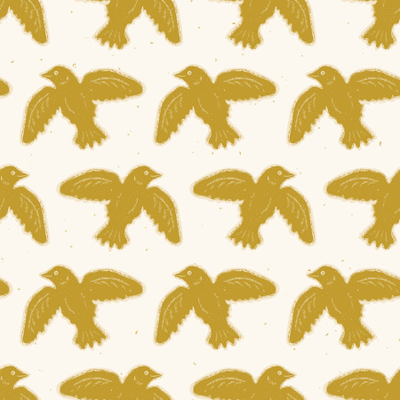 Flying Folk Art Bird Seamless Vector Pattern. Traditional Hand Drawn Block Print Style for NAture Home Decor, Boho Wallpaper, Nordic Textiles, Wing Animal Cards. Natural Mustard Yellow, Ecru Beige