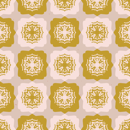 Star Quilt Folk Art Texture Seamless Vector Pattern. Hand Drawn Square Illustration