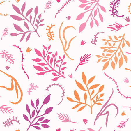 Pretty Tossed Leaf Branches Seamless Vector Pattern. Hand Drawn Paper Cut Leaves. Boho Scandi Style Illustration for Trendy Textile Fashion Prints, Elegant Nature Packaging. All Over Pastel Purple